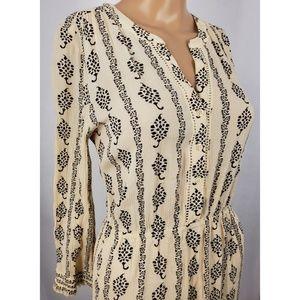 🦙 LOFT Cream and Black Tapestry Dress